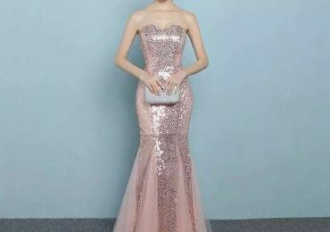 Strapless sparkled Prom Dress
